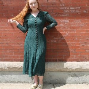Dresses & Skirts - Vintage 1980's Green Lace Maxi Dress